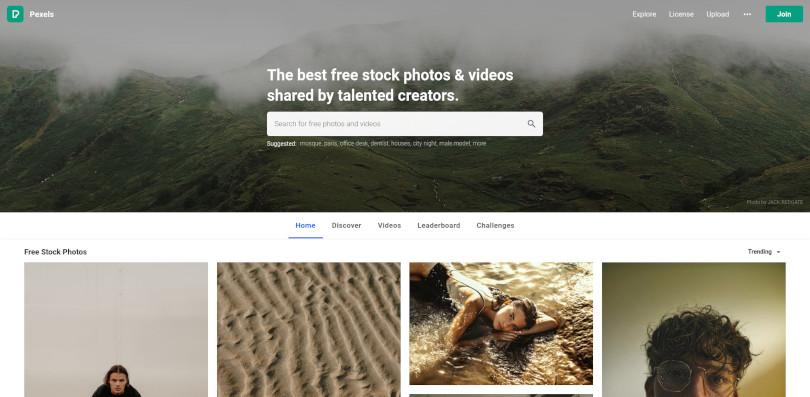 Screenshot of the homepage of Pexels