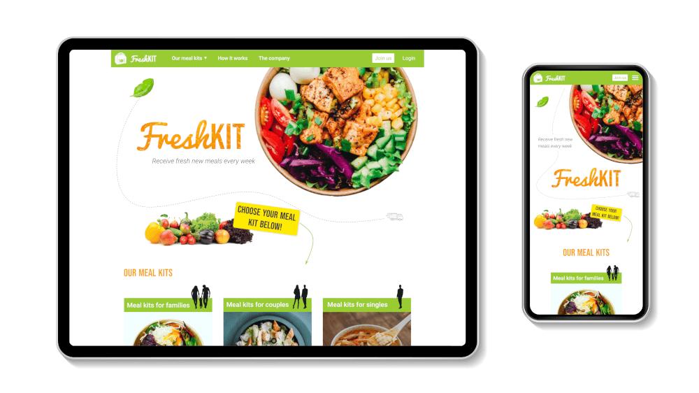 Design of the homepage of FreshKit