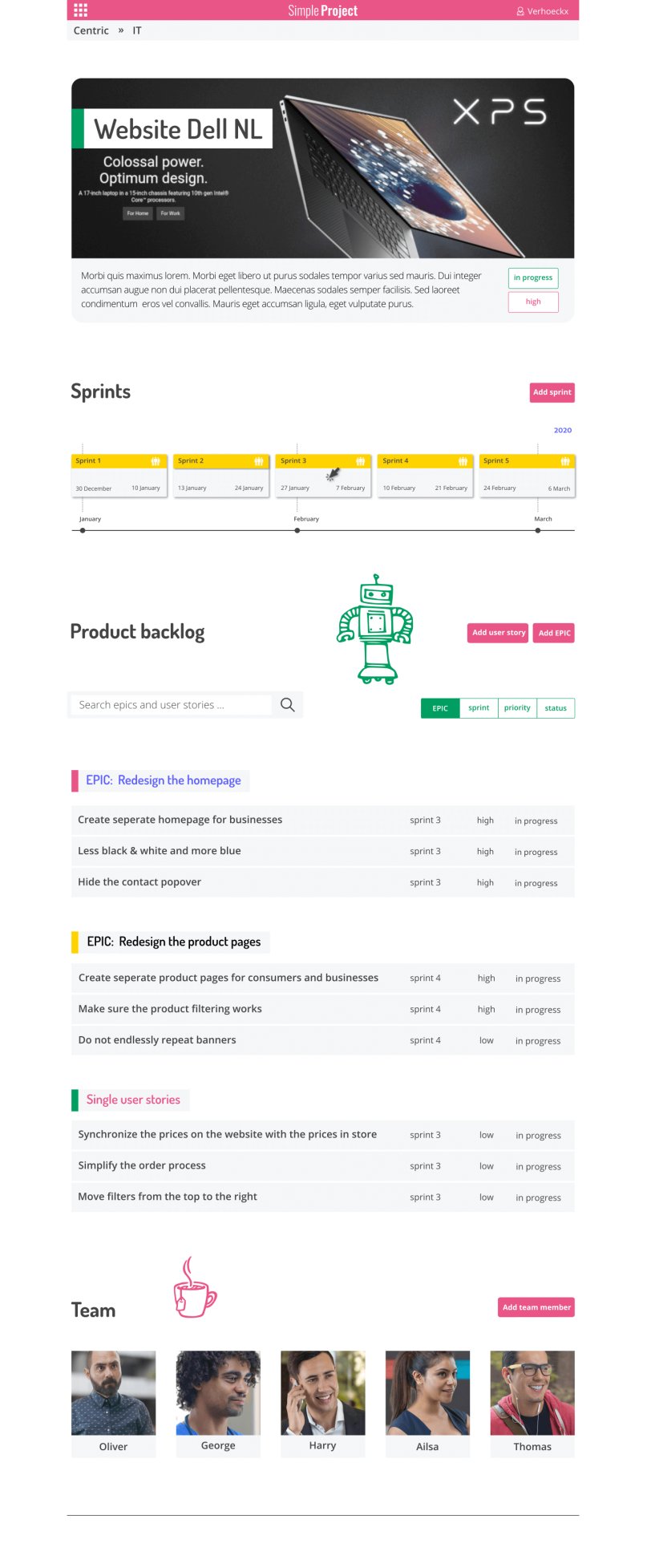 Design of the project dashboard of Simple Project