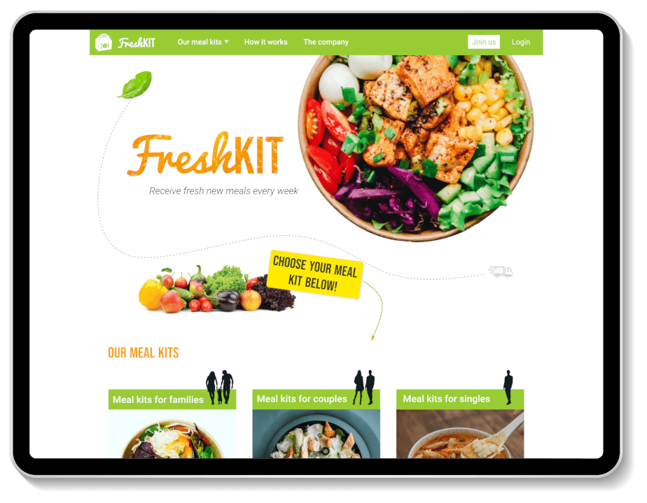 Interactive design of the desktop website of FreshKit