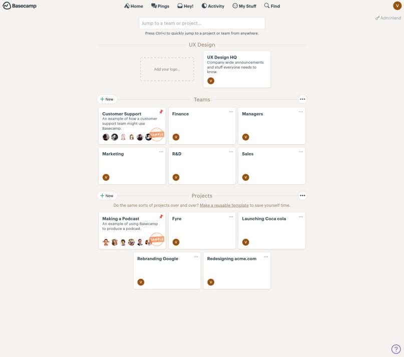 A screenshot of the main dashboard of Basecamp.