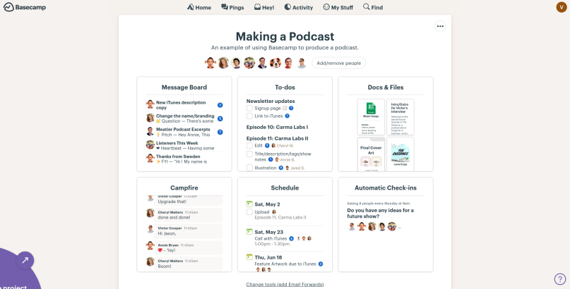 A screenshot of the project dashboard of Basecamp.