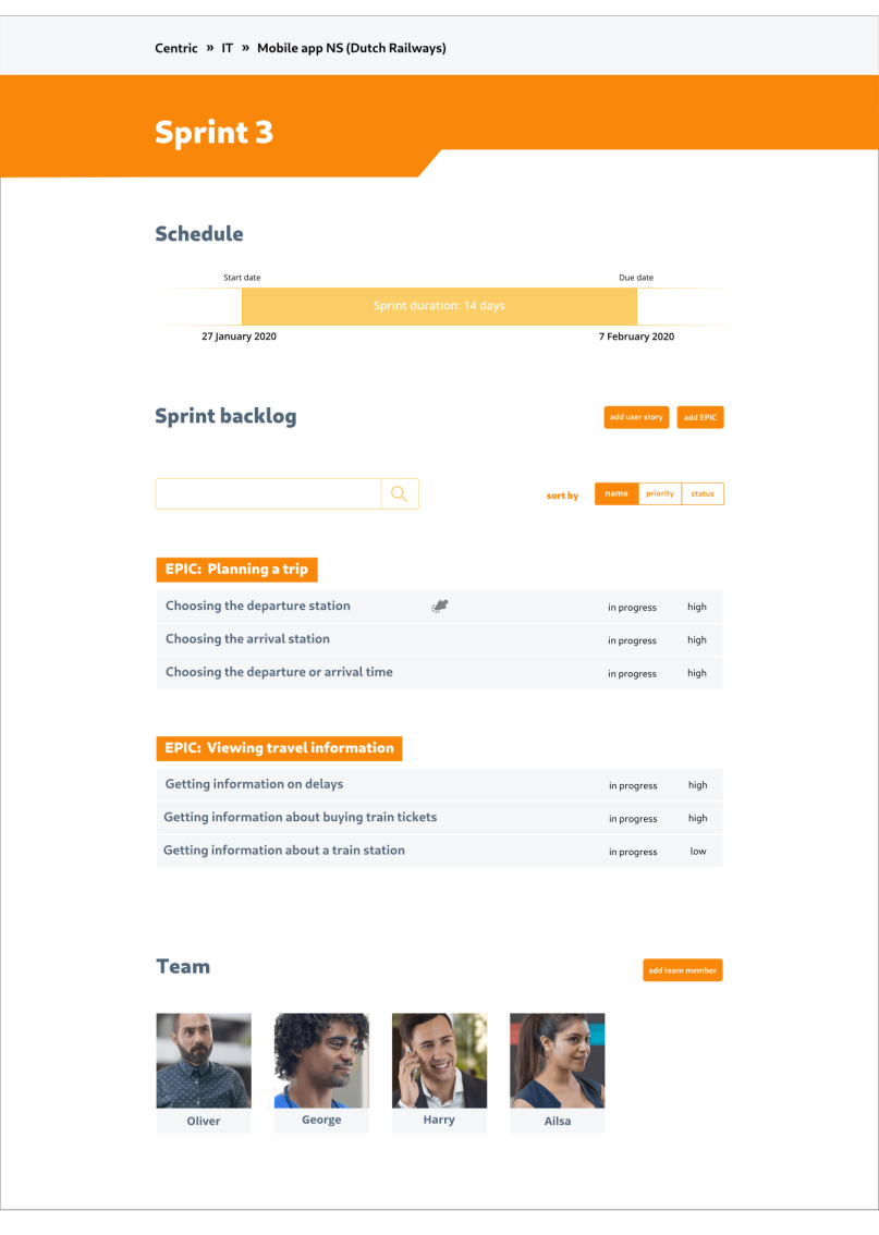 Initial high-fidelity design of the sprint dashboard