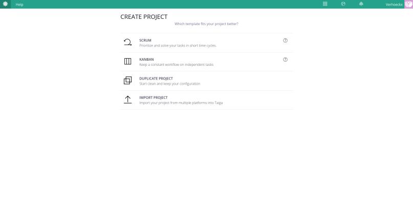 A screenshot of the create project dialog of Taiga.
