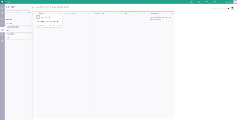 A screenshot of the filters dialog of Taiga.