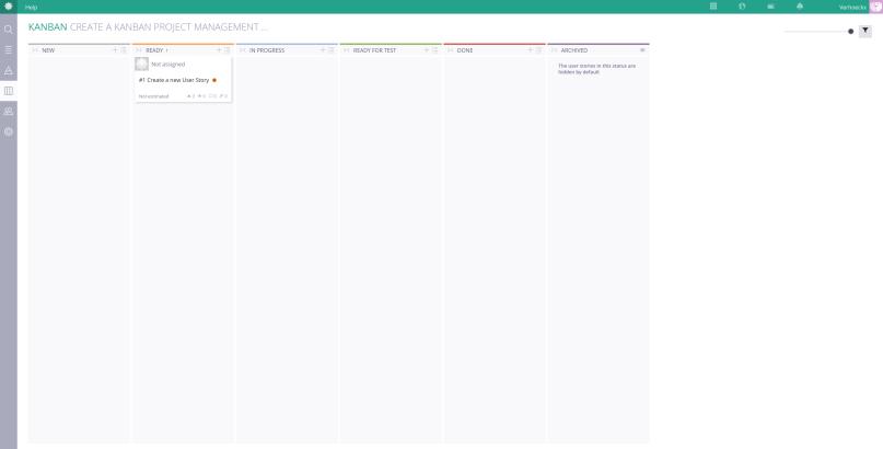 A screenshot of the Kanban overview of Taiga.
