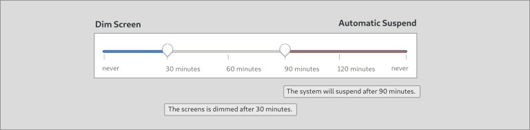 Mockup of the converged Dim Screen and Automatic Suspend settings