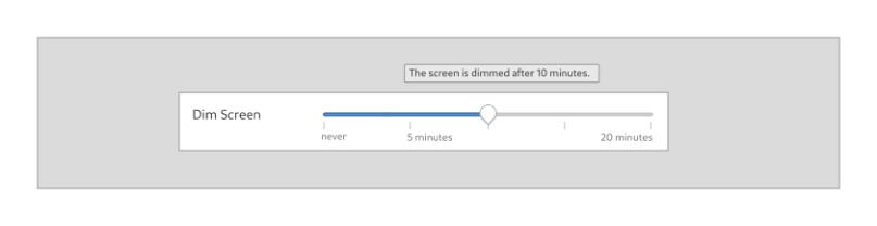 Mockup of the dim screen slider