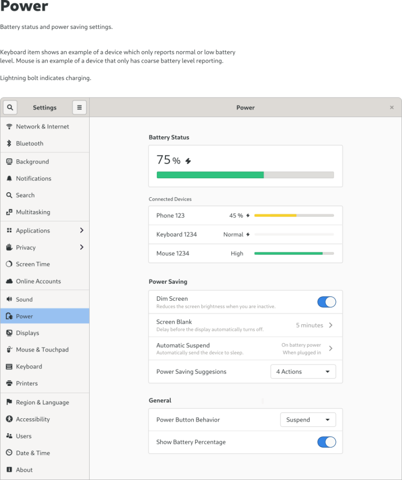 New design of the GNOME power settings by Allan Day - part 1
