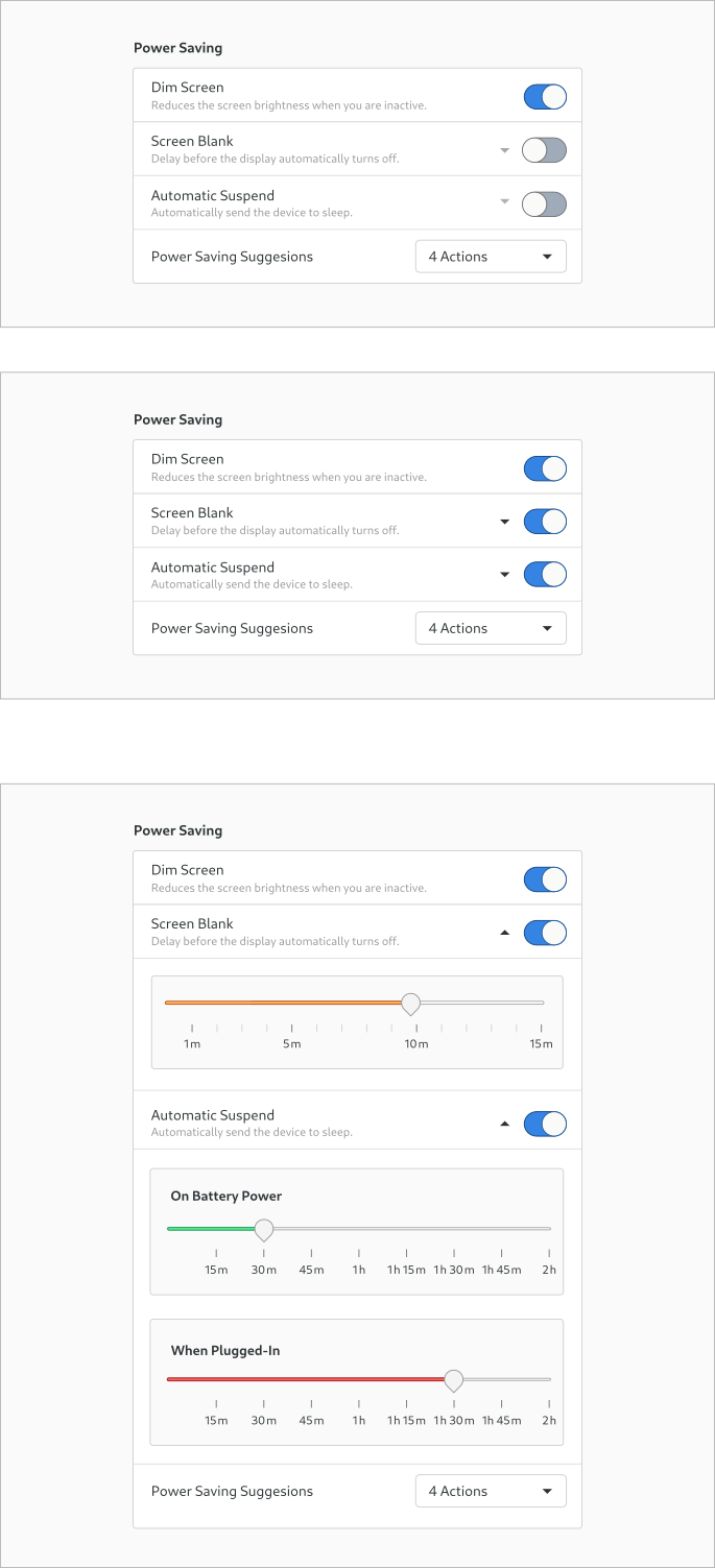 Design experiment for the Screen Blank & Automatic Suspend settings - part 1