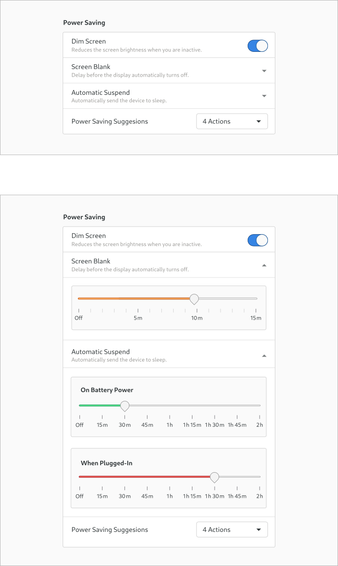 Design experiment for the Screen Blank & Automatic Suspend settings - part 2